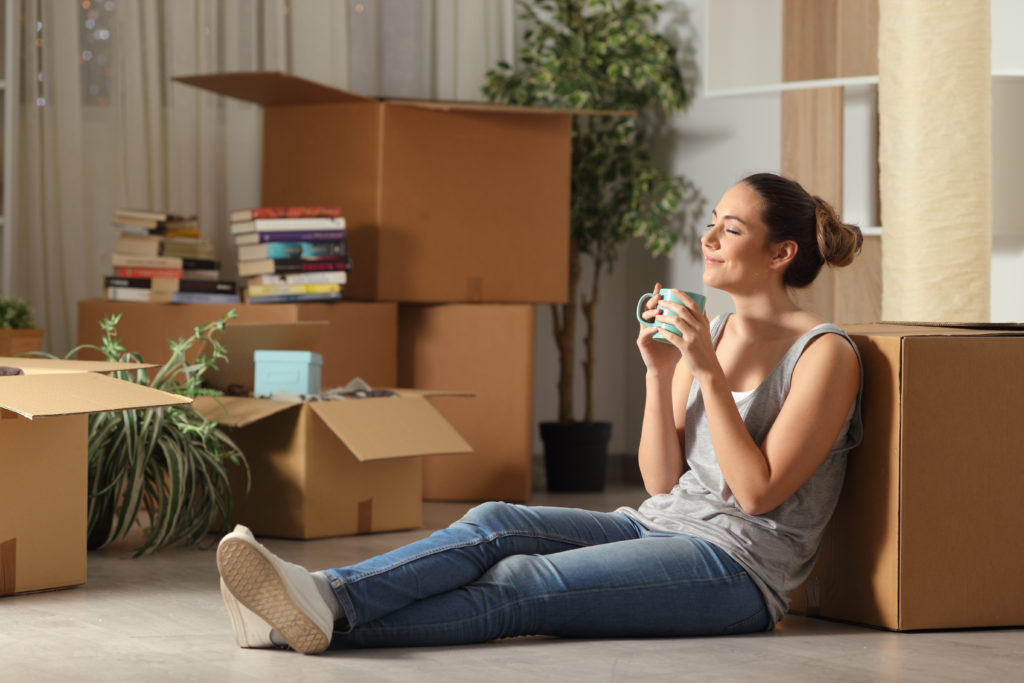Happy tenant moving home resting breathing fresh air. Missouri divorce concept.