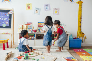 child support end concept Young children enjoying in the playroom