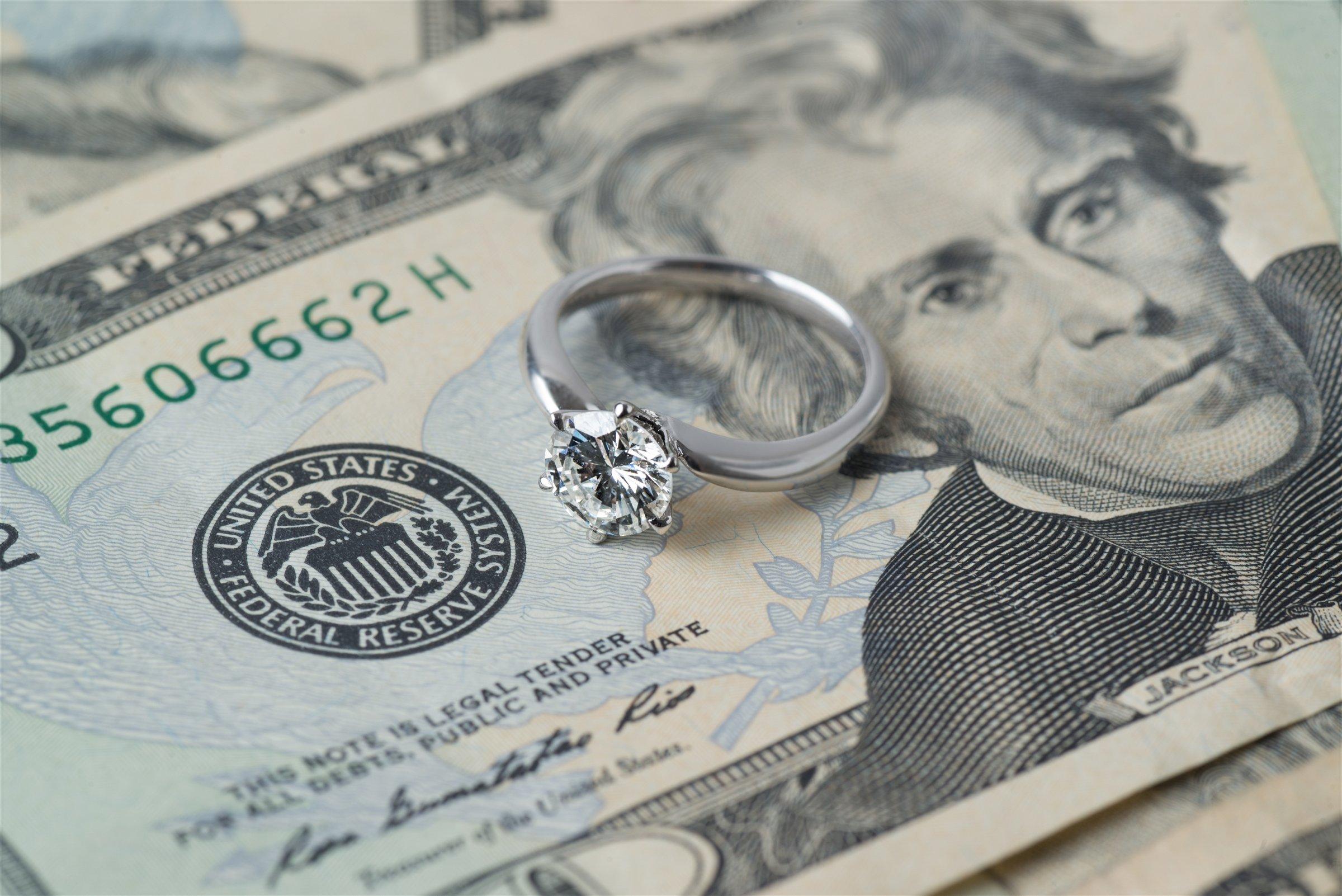 how to get alimony concept diamond ring on money